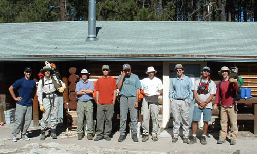 Rincon Mountains field crew at Manning Camp. Project leader Cal Farris is the one scratching his head, wondering why in the world he decided to do this.